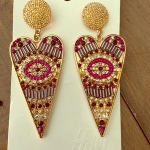 H&M Heart Art Deco Style Drop Earring